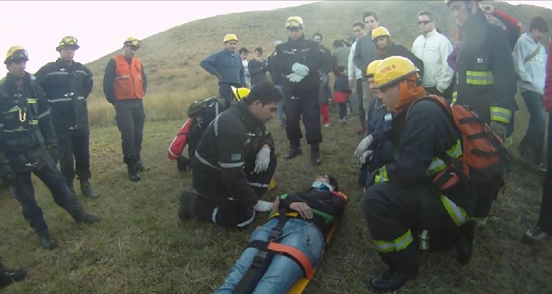 Un año del primer simulacro de accidente en parapente.